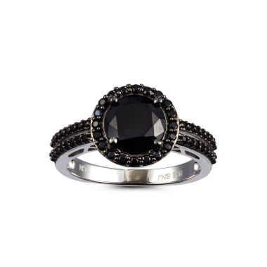 jcpenney.com | Womens Black Spinel Sterling Silver Halo Ring