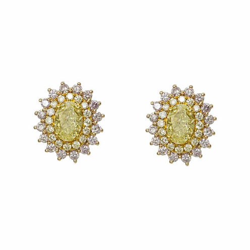 1 1/2 CT. T.W. Pear Yellow Diamond 18K Gold Stud Earrings