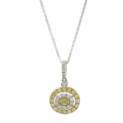 Womens 5/8 CT. T.W. Yellow Diamond 18K Pendant Necklace