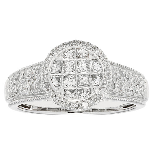 Womens 1 CT. T.W. Princess White Diamond 10K Gold Engagement Ring