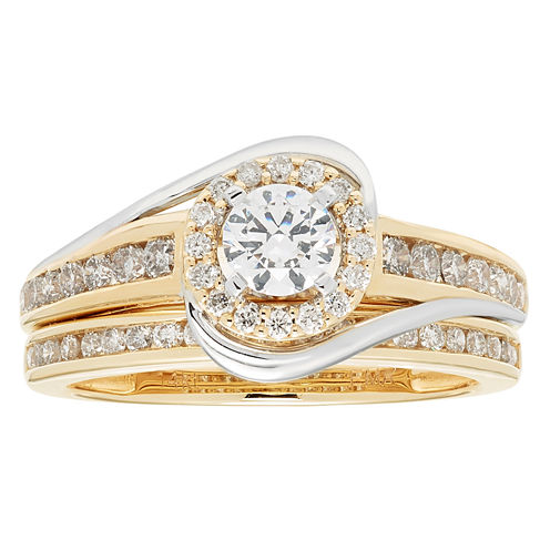 Womens 1 CT. T.W. Genuine White Diamond 14K Gold Bridal Set
