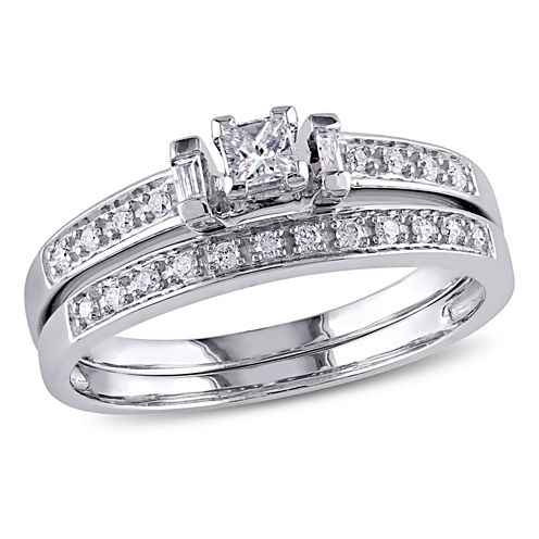 1/3 CT. T.W. White Diamond 10K Gold Bridal Set