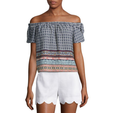 jcpenney.com | by&by Short Sleeve Woven Blouse-Juniors