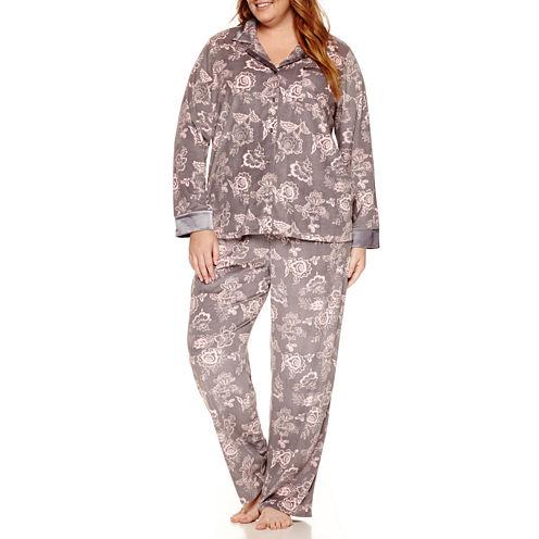 Liz Claiborne Fleece Pant Pajama Set-Plus