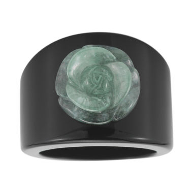 jcpenney.com | Jade & Onyx Carved Flower Ring