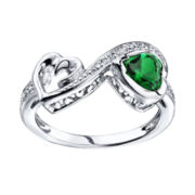 Love Grows™ Simulated Emerald & White Topaz Heart Ring