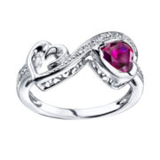 Love Grows™ Lab-Created Ruby & White Topaz Heart Ring