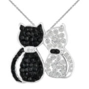 Silver-Plated Black & White Clear Crystal Double Cats Pendant Necklace