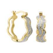 Classic Treasures™ Diamond-Accent Two-Tone 18K Gold Over Brass Twist Hoop Earrings