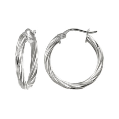jcpenney.com | Pure Silver-Plated Twisted Hoop Earrings