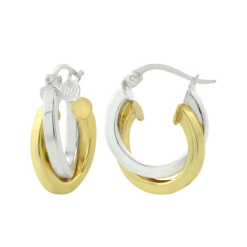14K Two-Tone Gold Over Brass 15mm Double Hoop Earrings