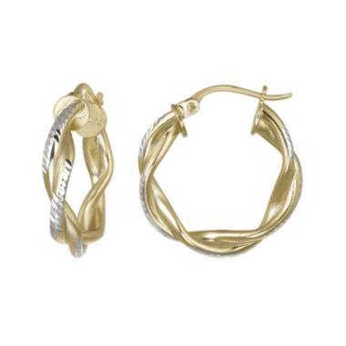 jcpenney.com | 14K Gold Over Brass Twisted Double Hoop Earrings