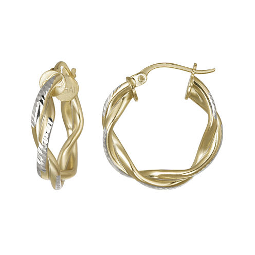 14K Gold Over Brass Twisted Double Hoop Earrings