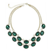 Mixit™ Gold-Tone Green 2-Row Collar Necklace