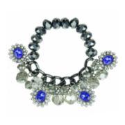 Mixit™ Hematite Blue Charm Stretch Bracelet