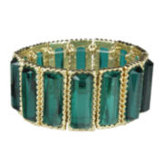 Mixit™ Hematite Rectangular Green Stretch Bracelet