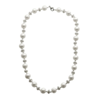 jcpenney.com | Cultured Freshwater Pearl Crystal-Accent Sterling Silver Necklace