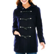 Liz Claiborne Wool-Blend Hooded Toggle Coat - Petite
