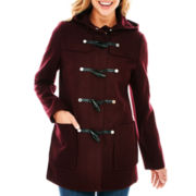 Liz Claiborne® Wool-Blend Hooded Toggle Coat - Tall