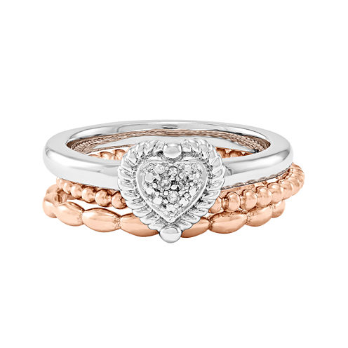 Personally Stackable 3-pc. Two-Tone Ring Set