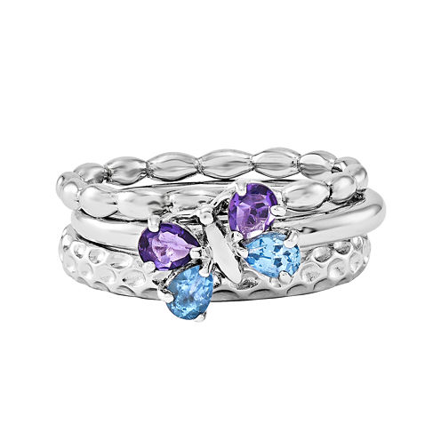 Personally Stackable Sterling Silver Butterfly Ring Set