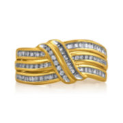 1/2 CT. T.W. Diamond 10K Yellow Gold Crossover Ring