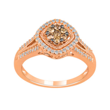 jcpenney.com | 1/2 CT. T.W. White & Champagne Diamond 10K Rose Gold Ring