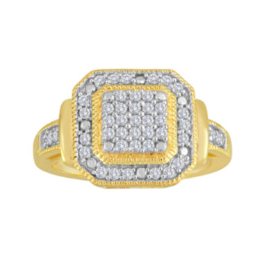 jcpenney.com | 1/3 CT. T.W. Diamond 14K Yellow Gold Over Sterling Silver Frame Ring