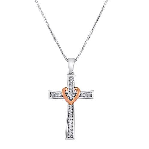 1/10 CT. T.W. Diamond Heart Cross Pedant Necklace