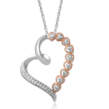 jcpenney.com | Falling for You 1/10 CT. T.W. Diamond Two-Tone Heart Pendant Necklace