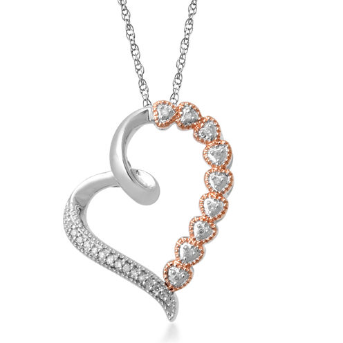 Falling for You 1/10 CT. T.W. Diamond Two-Tone Heart Pendant Necklace