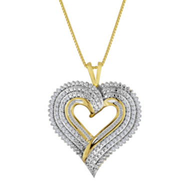 jcpenney.com | 1/2 CT. T.W. Diamond Layered Heart Pendant Necklace