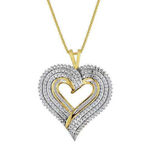 1/2 CT. T.W. Diamond Layered Heart Pendant Necklace