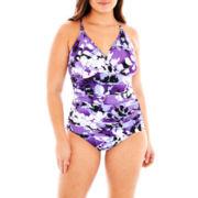 Trimshaper® Print 1-Piece Tank Swimsuit - Plus