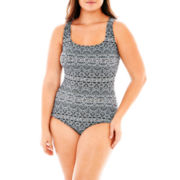 Robby Len by Longitude® Trinidad X-Back 1-Piece Swimsuit - Plus