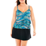 Trimshaper® Ruffled Tankini Swim Top or Skirted Bottoms - Plus