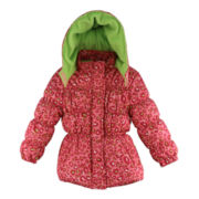 Pink Platinum Leopard-Print Hooded Puffer Jacket - Girls 4-6x