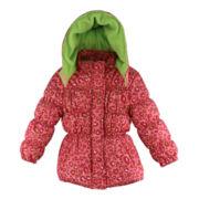 Pink Platinum Leopard-Print Hooded Puffer Jacket - Girls 4-6x