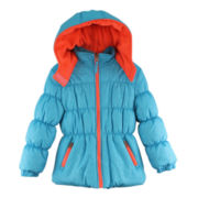 Pink Platinum Hooded Puffer Jacket - Girls 4-6x
