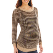 Maternity Long-Sleeve Open-Weave Chunky Sweater