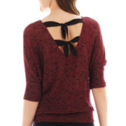 by&by Elbow-Sleeve Tie-Back Sweater