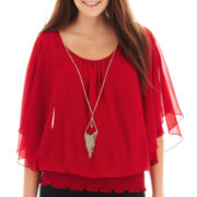 by&by Flutter-Sleeve Necklace Blouse - Plus