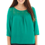 Arizona 3/4 -Sleeve Lace-Yoke Top - Plus