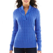 Liz Claiborne Long-Sleeve Split-Neck Sweater - Petite