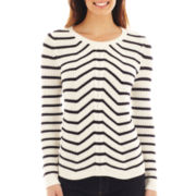 Liz Claiborne Long-Sleeve Striped Cable Sweater