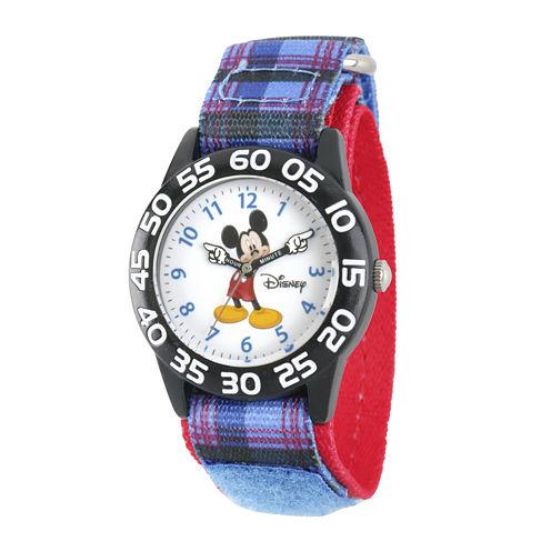Disney® Mickey Mouse Boys Plaid Strap Watch