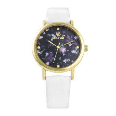 jcpenney.com | Decree® Womens Floral Dial White Strap Vintage-Style Watch