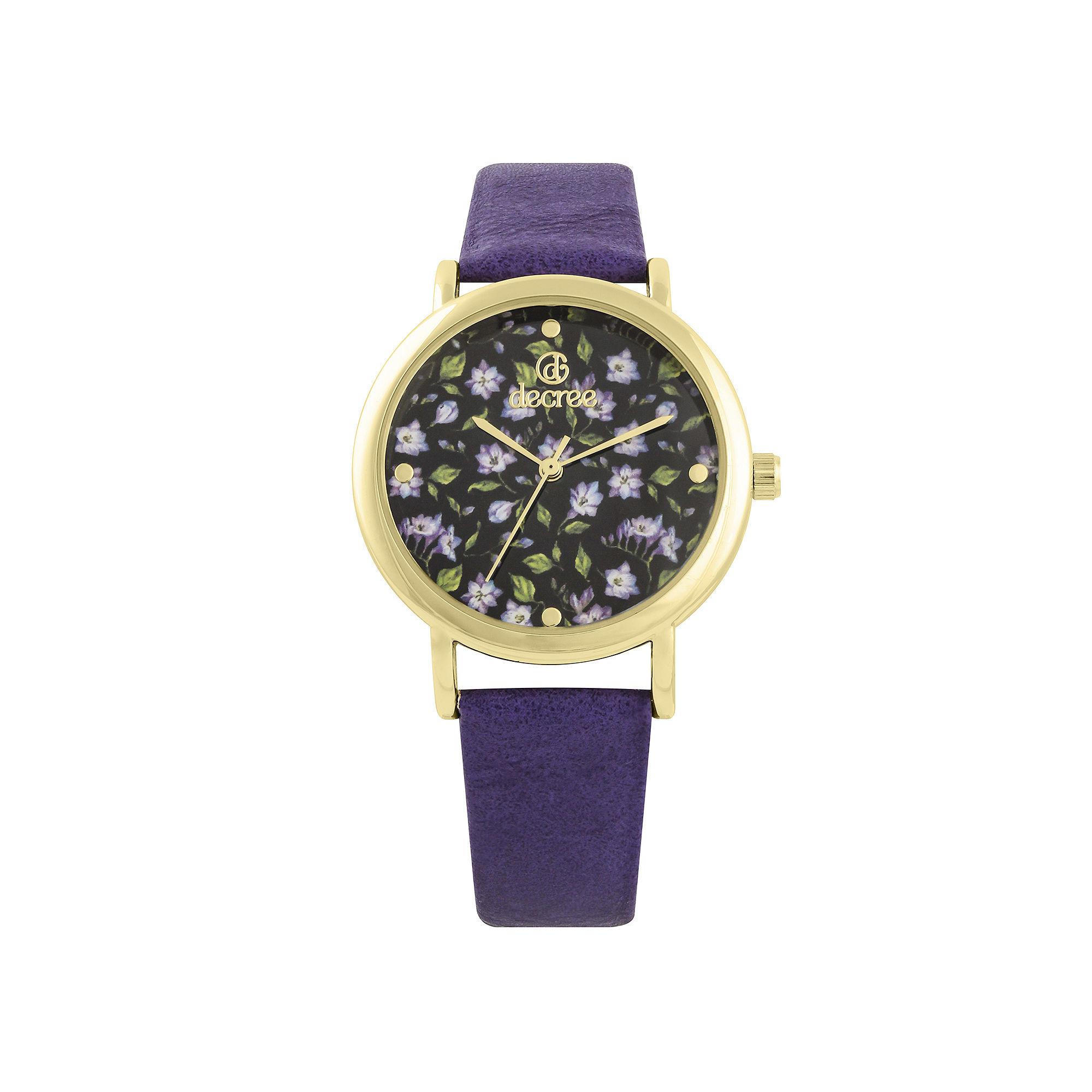 Decree Womens Floral Dial Purple Strap Vintage-Style Watch