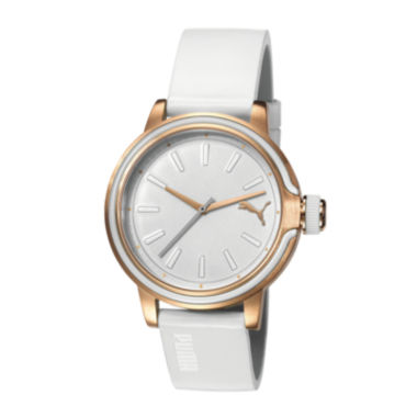 jcpenney.com | Puma® Womens Leather White and Rose Gold-Tone Watch PU103772006