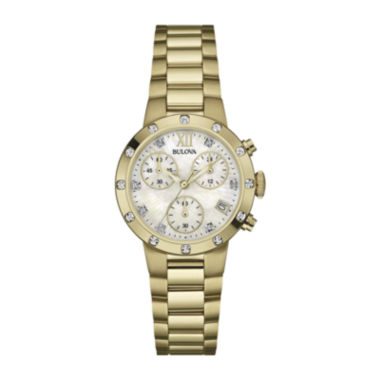 jcpenney.com | Bulova® Gold-Tone Mother-of-Pearl Dress Watch 98R216